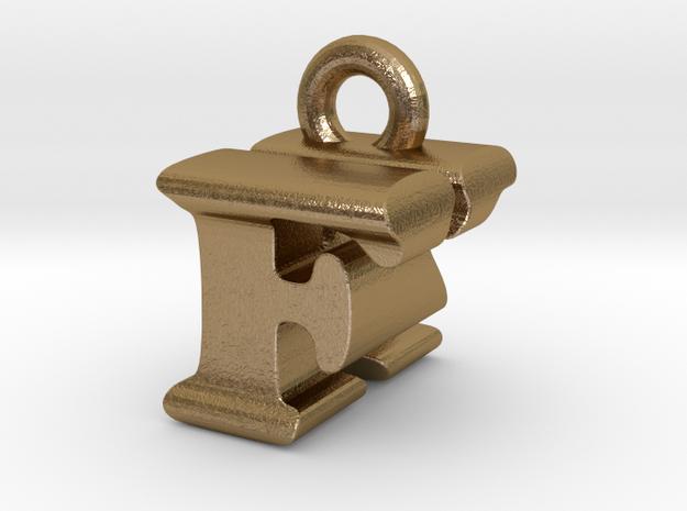 3D Monogram Pendant - FKF1 in Polished Gold Steel