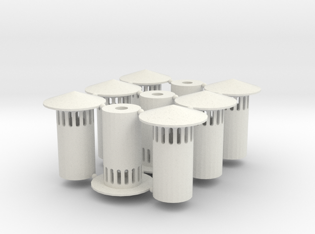 N Scale Vent Stack (1:160) in White Natural Versatile Plastic
