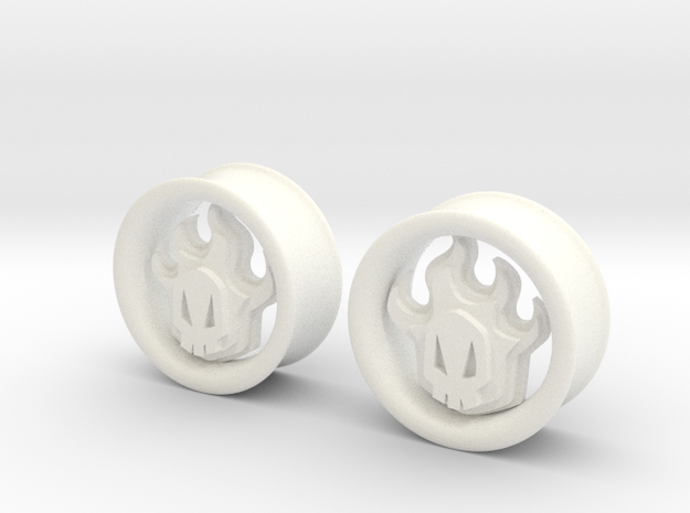 1 Inch Flame Skull Plugs in White Processed Versatile Plastic