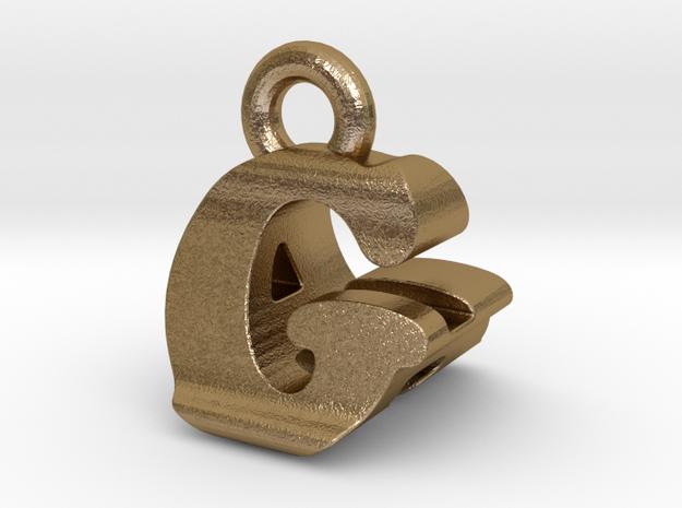3D Monogram Pendant - GAF1 in Polished Gold Steel