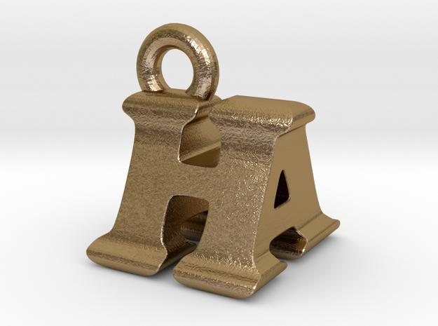 3D Monogram Pendant - HAF1 in Polished Gold Steel