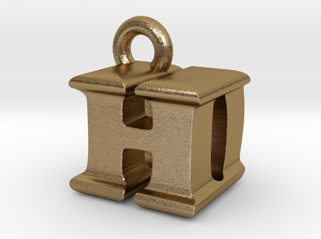 3D Monogram Pendant - HDF1 in Polished Gold Steel
