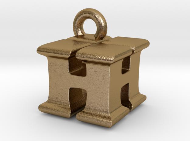 3D Monogram Pendant - HHF1 in Polished Gold Steel