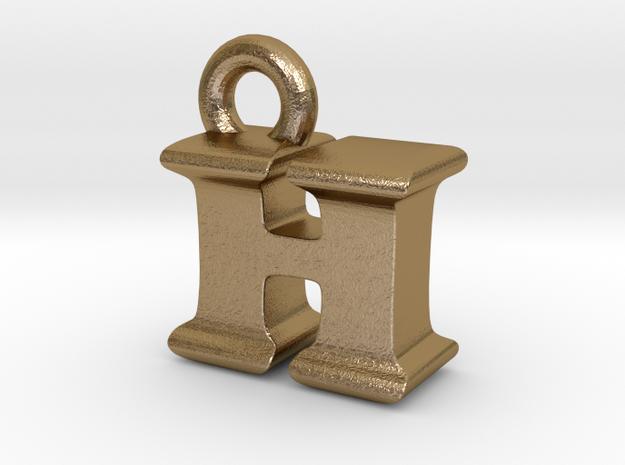 3D Monogram Pendant - HIF1 in Polished Gold Steel