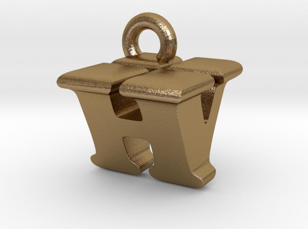 3D Monogram Pendant - HVF1 in Polished Gold Steel