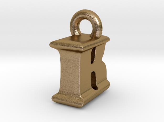 3D Monogram Pendant - IBF1 in Polished Gold Steel
