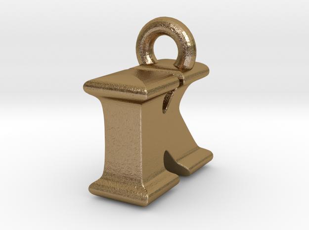 3D Monogram Pendant - IKF1 in Polished Gold Steel