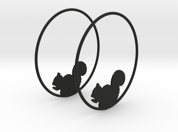 Squirrel Hoop Earrings 50mm in Black Natural Versatile Plastic