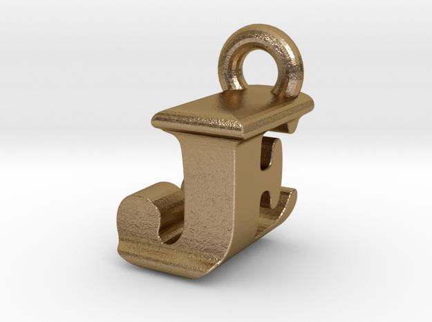 3D Monogram Pendant - JEF1 in Polished Gold Steel