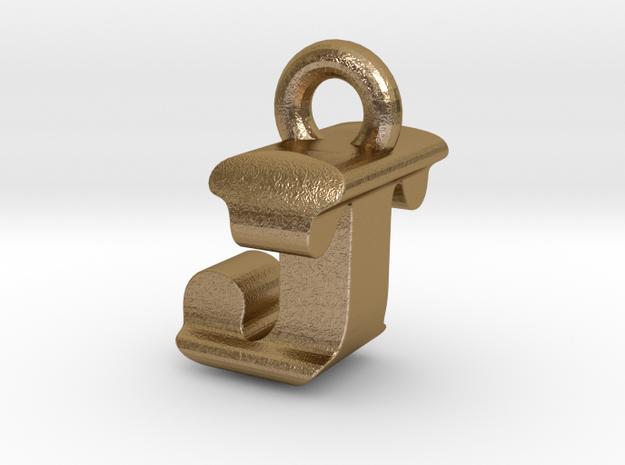 3D Monogram Pendant - JTF1 in Polished Gold Steel