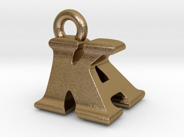 3D Monogram Pendant - KAF1 in Polished Gold Steel