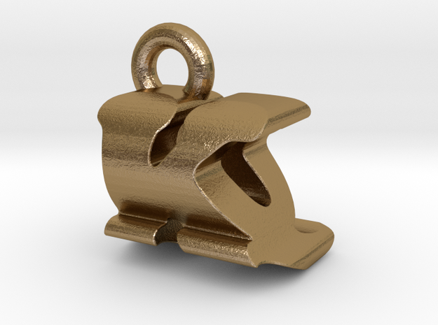 3D Monogram Pendant - KQF1 in Polished Gold Steel