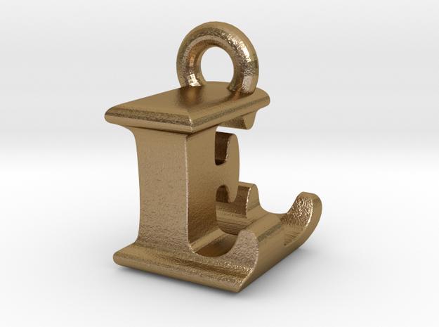 3D Monogram Pendant - LEF1 in Polished Gold Steel