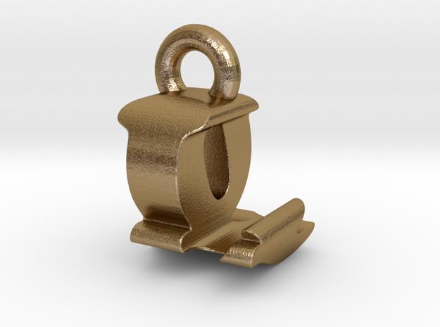 3D Monogram Pendant - LQF1 in Polished Gold Steel