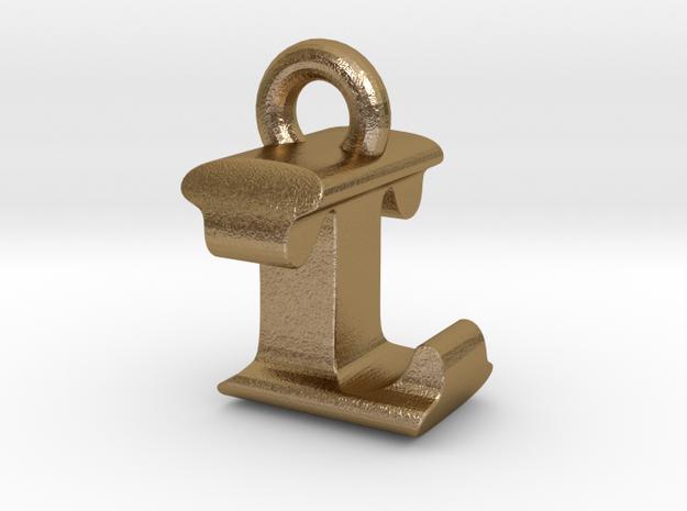 3D Monogram Pendant - LTF1 in Polished Gold Steel