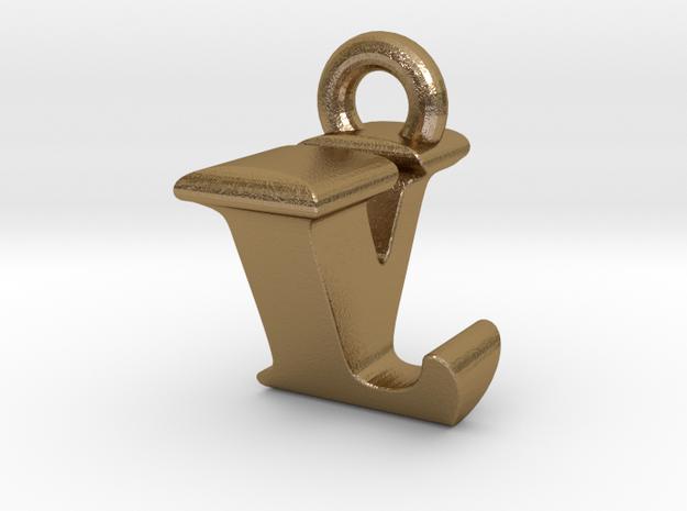 3D Monogram Pendant - LVF1 in Polished Gold Steel