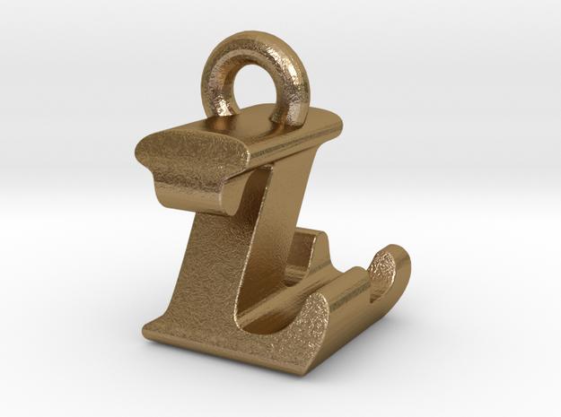 3D Monogram Pendant - LZF1 in Polished Gold Steel
