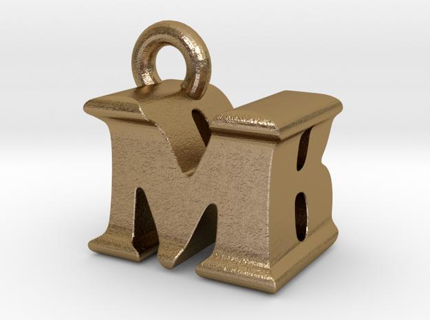3D Monogram Pendant - MBF1 in Polished Gold Steel