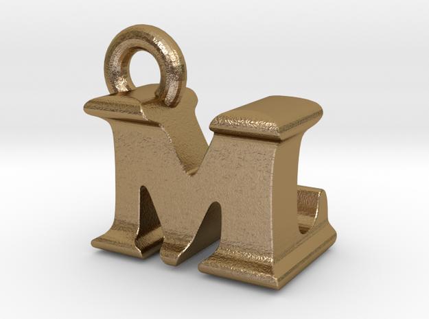 3D Monogram Pendant - MLF1 in Polished Gold Steel