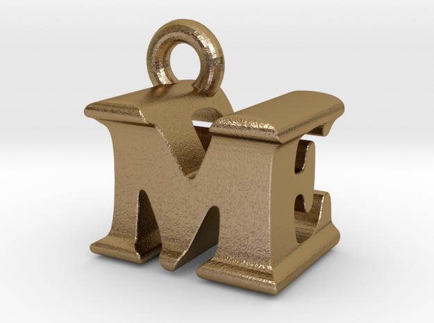 3D Monogram Pendant - MEF1 in Polished Gold Steel