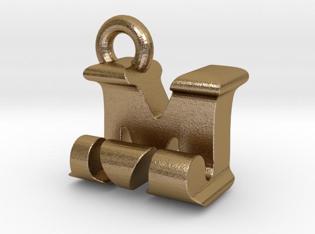 3D Monogram Pendant - MJF1 in Polished Gold Steel
