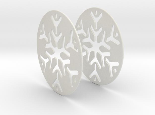 Snowflake 3 Hoop Earrings 50mm in White Natural Versatile Plastic