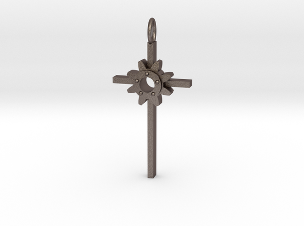 Faith Pendant in Polished Bronzed Silver Steel