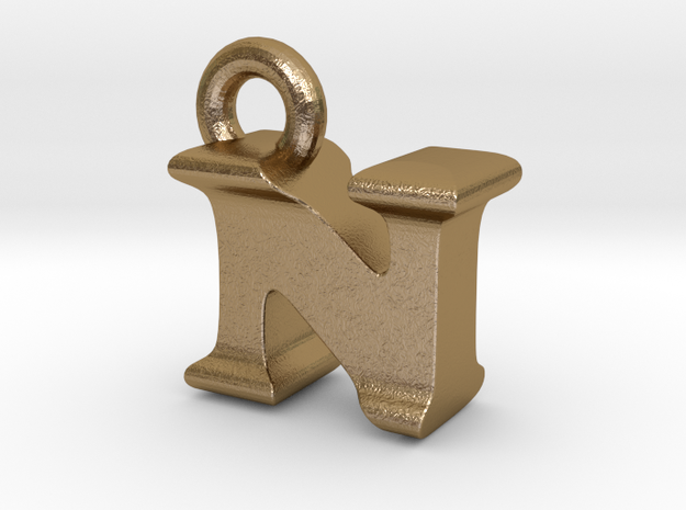 3D Monogram Pendant - NIF1 in Polished Gold Steel