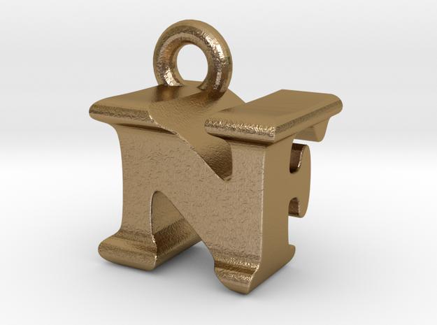 3D Monogram Pendant - NFF1 in Polished Gold Steel