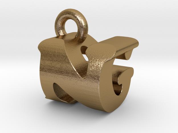 3D Monogram Pendant - NGF1 in Polished Gold Steel
