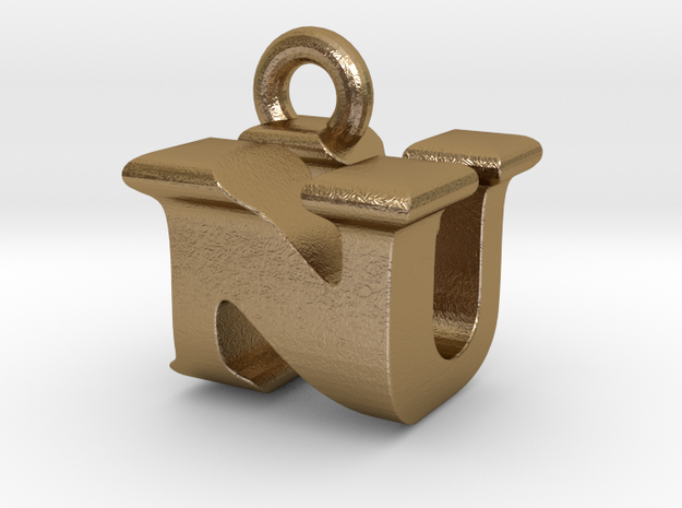 3D Monogram Pendant - NUF1 in Polished Gold Steel