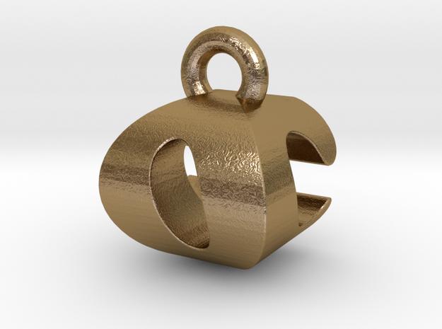 3D Monogram Pendant - OCF1 in Polished Gold Steel