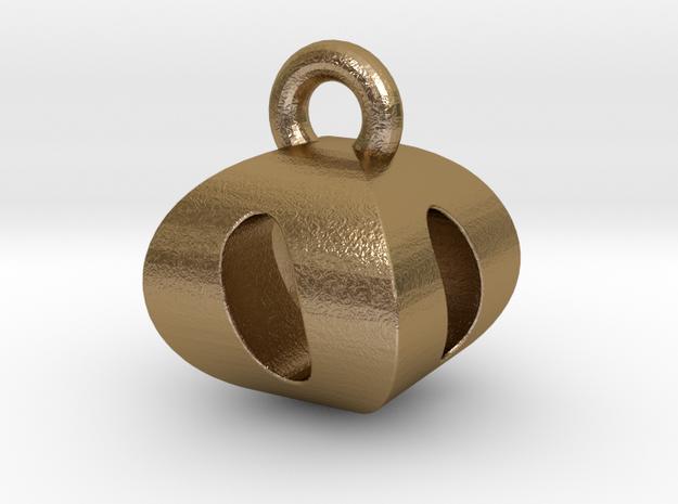 3D Monogram Pendant - OOF1 in Polished Gold Steel