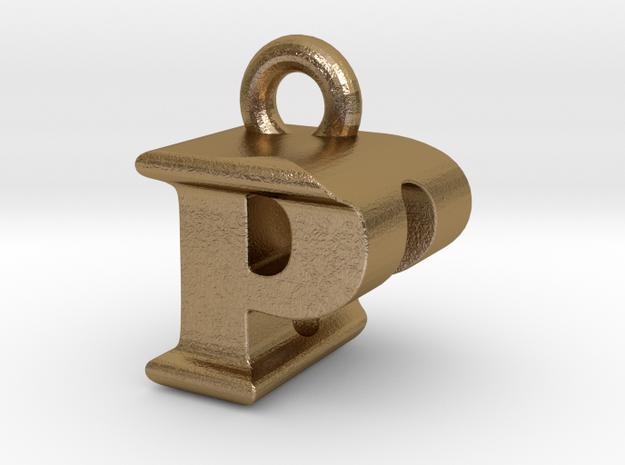 3D Monogram Pendant - PDF1 in Polished Gold Steel
