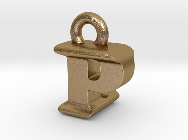 3D Monogram Pendant - PLF1 in Polished Gold Steel