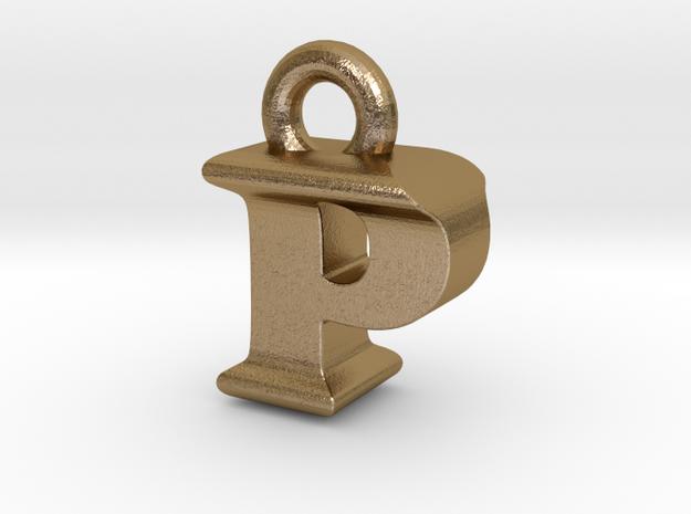 3D Monogram Pendant - PIF1 in Polished Gold Steel