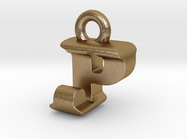 3D Monogram Pendant - PJF1 in Polished Gold Steel