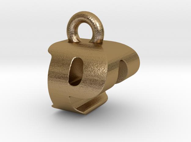 3D Monogram Pendant - POF1 in Polished Gold Steel