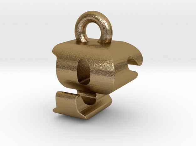 3D Monogram Pendant - PSF1 in Polished Gold Steel
