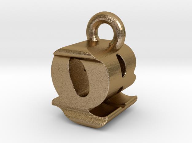 3D Monogram - QBF1 in Polished Gold Steel