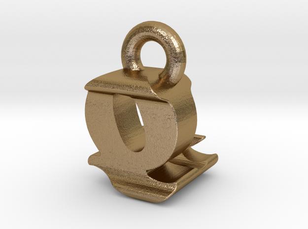 3D Monogram - QLF1 in Polished Gold Steel
