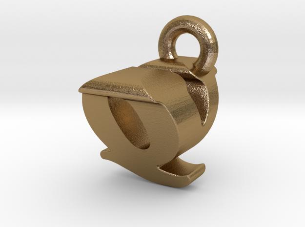 3D Monogram - QVF1 in Polished Gold Steel