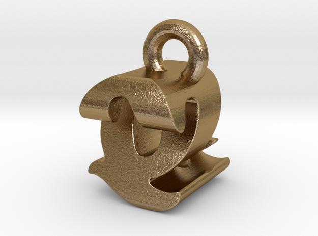 3D Monogram - QZF1 in Polished Gold Steel