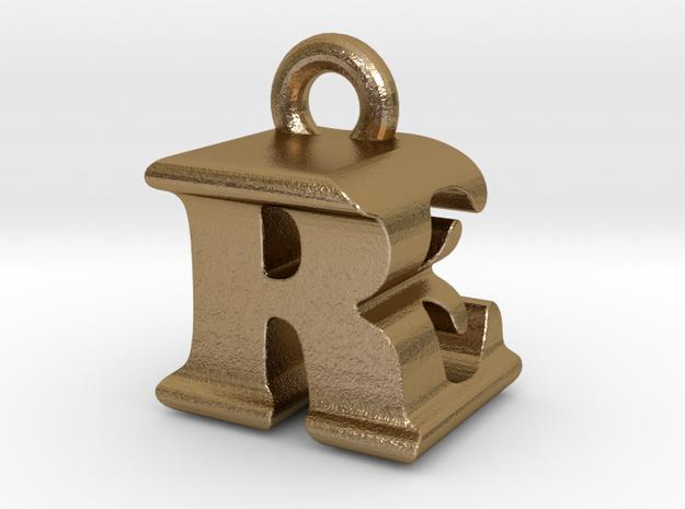 3D Monogram - REF1 in Polished Gold Steel