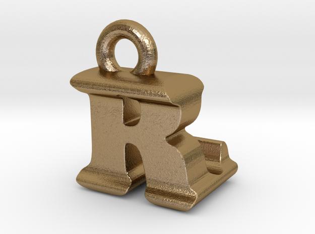 3D Monogram - RLF1 in Polished Gold Steel