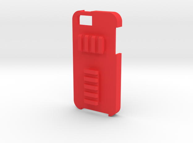 iPhone 5 Picatinny Case (Back Rails) in Red Processed Versatile Plastic