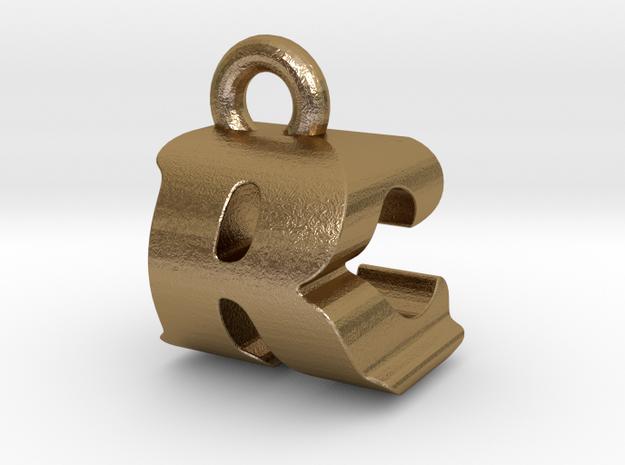 3D Monogram - RCF1 in Polished Gold Steel
