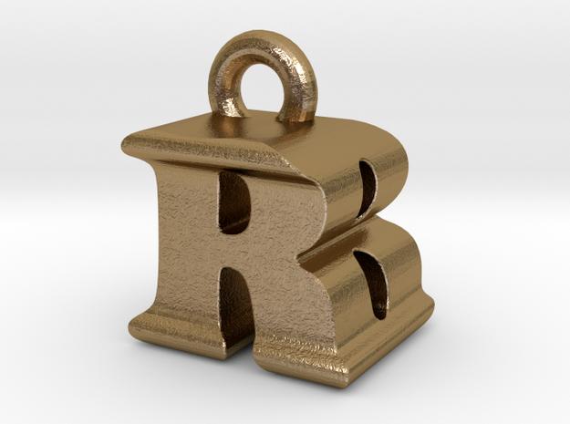 3D Monogram - RBF1 in Polished Gold Steel