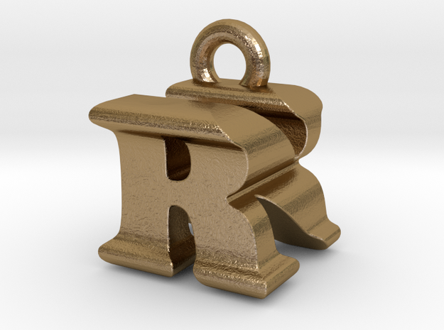 3D Monogram - RNF1 in Polished Gold Steel