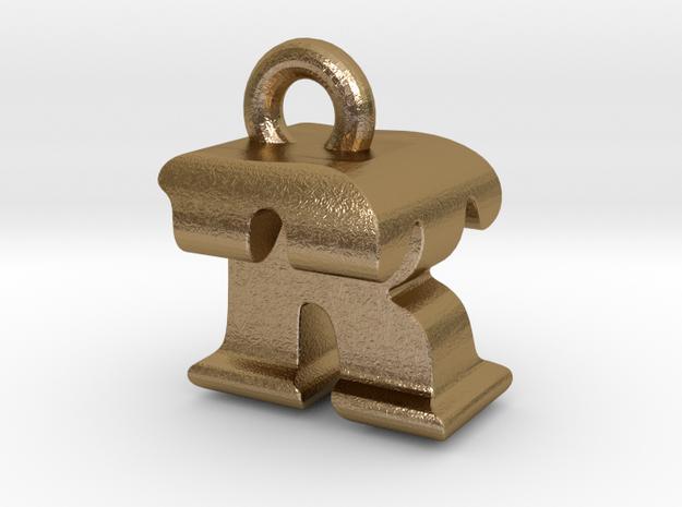3D Monogram - RTF1 in Polished Gold Steel